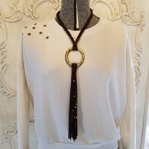 Boho brown and gold necklace